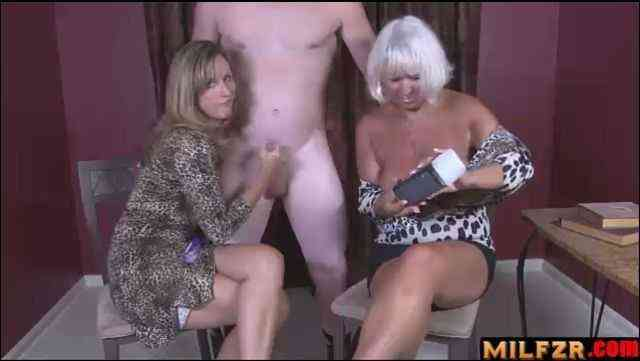 Mother VS grand mother handjob race