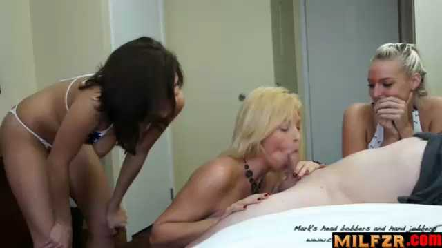 Two Girls Blackmail Mom To Suck Son