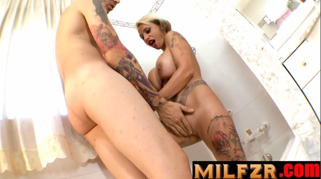 Step Son Joins Big Booty Mommy In Shower