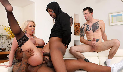 Milf Mom Alura Jenson Cuckold son with two Big Black Cock