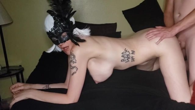 Wig and Mask Girl Argent Silver Gets Done Doggy Style