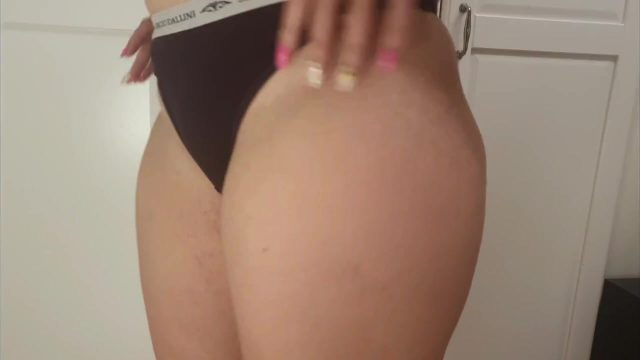 Big ASS milf in BLACK PANTIES using big dildo to stretch her pussy