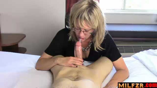 Mom Gives Son Sloppy Blow Job