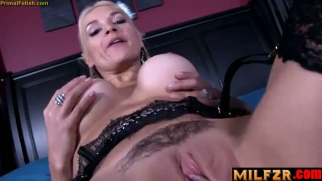 Hot blonde mother takes son's dick