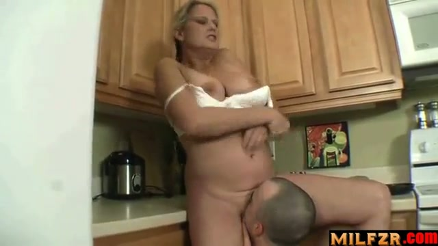 Son hard fuck chubby mom in kitchen